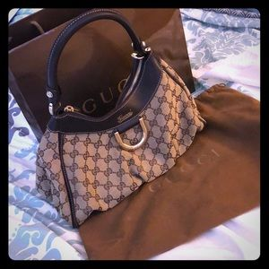 Gucci canvas D ring purse